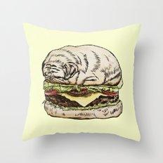 Pug Burger Throw Pillow