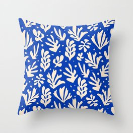 matisse pattern with leaves in blu Throw Pillow