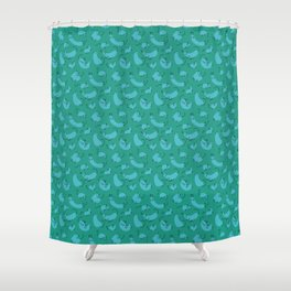 Frolicking Cats'n'Rats in Teal Shower Curtain