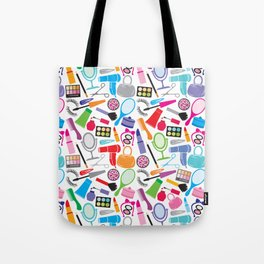make up collection background (seamless pattern, beauty and makeup design) Tote Bag