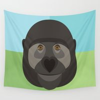gorilla Wall Tapestries featuring Gorilla by Amy Newhouse