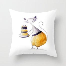 Greedy Cat Throw Pillow