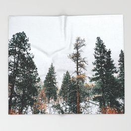 Snow Capped Pine Trees Throw Blanket