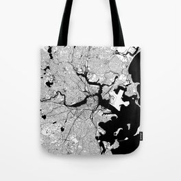 Boston Black and White Map Tote Bag