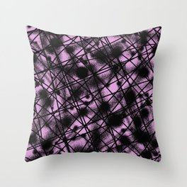 Web Of Lies - Black and pink conceptual, abstract, minimalistic artwork Throw Pillow