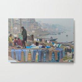 Varanasi Laundry Metal Print