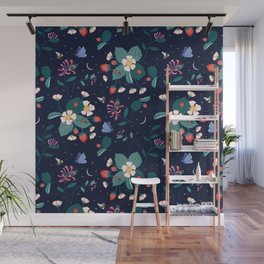 Midnight Strawberry Patch Pattern Wall Mural