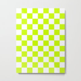 Checkered - White and Fluorescent Yellow Metal Print
