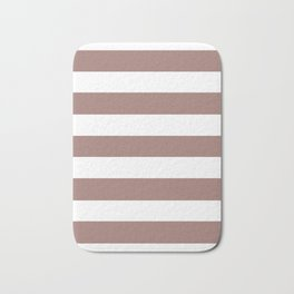 Burnished brown - solid color - white stripes pattern Bath Mat