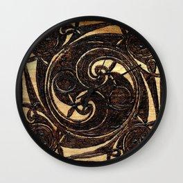 Wood Burnt Celtic Knot Wall Clock