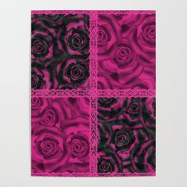 Raspberry patchwork Roses. Poster