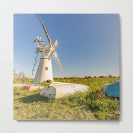 The historical white mill on the river bank at Thurne Mouth in the Norfolk Broads Metal Print