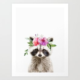 Baby Raccoon with Flower Crown Art Print