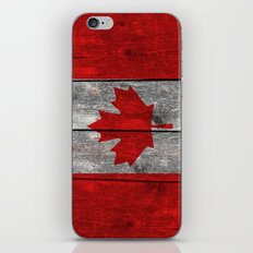 Canada flag on heavily textured woodgrain  iPhone & iPod Skin