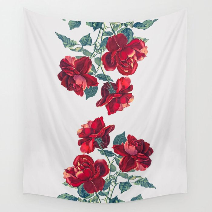 Red Roses Wall Tapestry