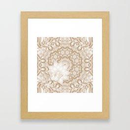 Butterfly on mandala in iced coffee tones Framed Art Print