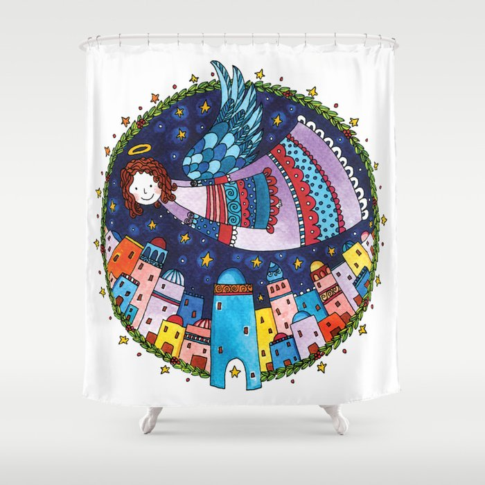 Holy night > Angel Shower Curtain