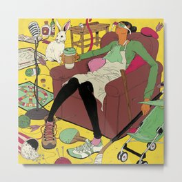 Woman in Clutter Metal Print