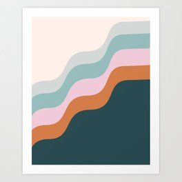 Abstract Diagonal Waves in Teal, Terracotta, and Pink Art Print