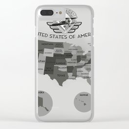 Black and White USA map Clear iPhone Case