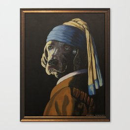WEIMARANER WITH PEARL EARRING Canvas Print