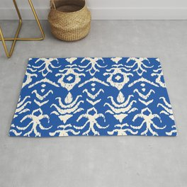 Blue Ikat Damask Print Rug