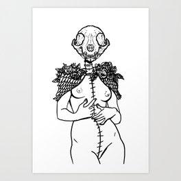 Crazy cat lady skeleton winged surreal figure Art Print