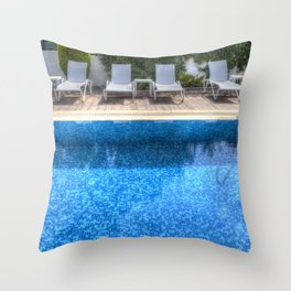 Summer Swimming Pool Throw Pillow