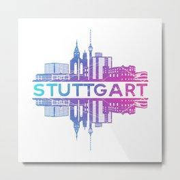 Stuttgart  City Skyline Cityscape Skyscraper Gift Idea Metal Print