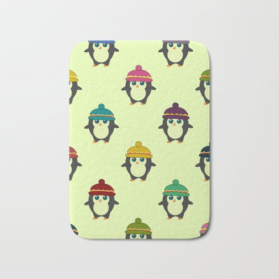 Penguins with colorful beanies Bath Mat