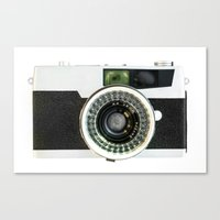 vintage camera Canvas Prints featuring Vintage camera by cafelab