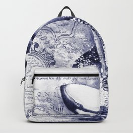 Breaching Orca Killer Whale Watercolor Ancient Blue Backpack