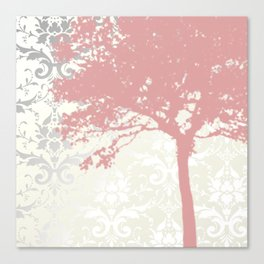 Tree Silhouette & Damask Backdrop Canvas Print