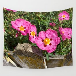 Picket fence and pink flowers Wall Tapestry