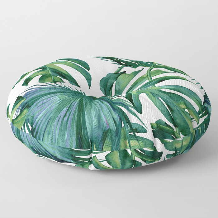 Classic Palm Leaves Tropical Jungle Green Floor Pillow