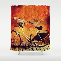 cycle Shower Curtains featuring Yellow Cycle by Emily Werboff