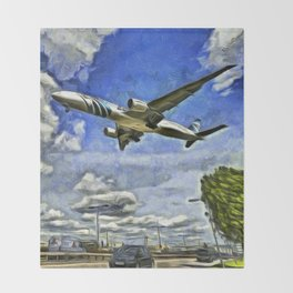 Airliner Vincent Van Gogh Throw Blanket