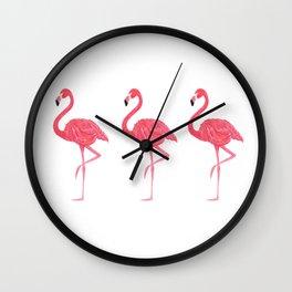 Flamingo tropical dance Wall Clock