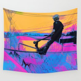 On Edge -  Stunt Scooter Artwork Wall Tapestry