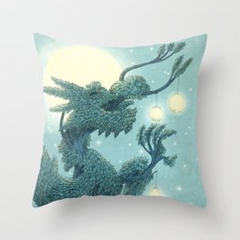 The Night Gardener - The Dragon Tree, Night Throw Pillow