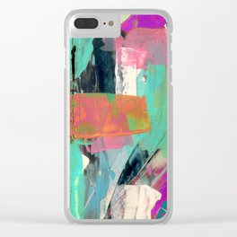 [Still] Hopeful - a bright mixed media abstract piece Clear iPhone Case