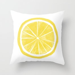 Lemon slice sun Throw Pillow