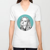 jennifer lawrence V-neck T-shirts featuring Jennifer Lawrence by Sharin Yofitasari