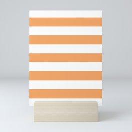 Sandy brown - solid color - white stripes pattern Mini Art Print