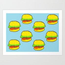 Blue water Burger Pattern Art Print
