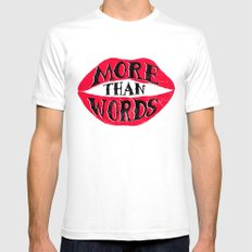 More Than Words SMALL White Mens Fitted Tee