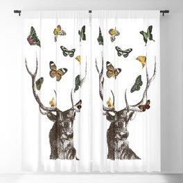 The Stag and Butterflies | Deer and Butterflies | Vintage Stag | Vintage Deer | Antlers | Woodland | Blackout Curtain