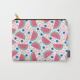 Slicer - watermelon tropical fruit summer spring pattern nature children retro bright happy 1980s Carry-All Pouch