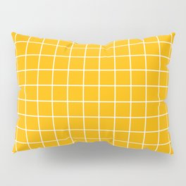 Chinese yellow - orange color - White Lines Grid Pattern Pillow Sham