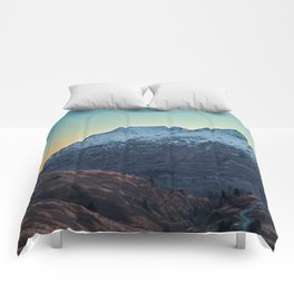 Sunset on a Snow Covered Mountain Photography Print Comforters